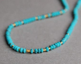 Turquoise and Matte Gold Seed Bead Necklace, Delicate and Minimal