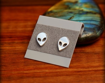 Alien earrings, Sterling silver alien post earrings