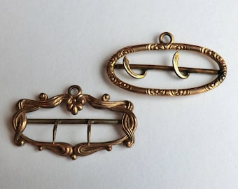 Two Edwardian Metal Buckles from Watch Fob Ribbons Jewelry Supply or Restore for Fobs