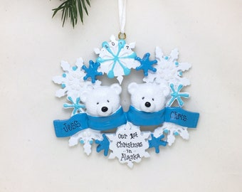 2 Polar Bears with Snowflakes Personalized Christmas Ornament / Polar Bear Couple / Hand Personalized Names / Custom