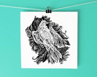 Dove Woodcut Art Print / Hand-drawn and carved woodblock art print /  Printmaking woodcut / Black and white bird art / Bird art