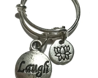 Laugh bangle rings, stackable charm ring, metal ring, fashion ring,Adjustable Expandable Bangle Bracelet,Antique Silver,