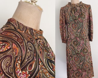 1970's Psychedelic Paisley Nylon Shift Dress Size Small Medium by Maeberry Vintage