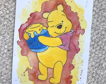 Disney's Pooh Bear from Winnie The Pooh Watercolour Painting Print in A5 & A4.