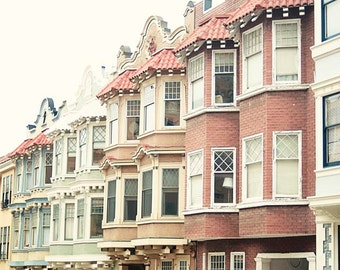 San Francisco Houses, Pastel, Travel Photography, California, San Francisco Wall Art, Architecture, Design