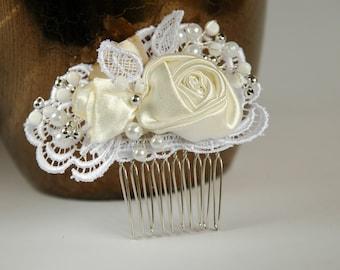 Rose lace wedding  hair comb, Bridal hair comb, Pearl hair comb, Lace hair comb,Lace wedding hair comb, Bridal headpiece, Wedding hadpiece