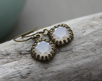 Crystal Ivory Cream Lacquer Swarovski  Earrings - antiqued brass crown bezel - Sparkling - Pale off white  earrings - Holiday Jewelry