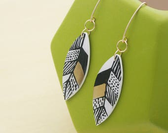 Tribal Pattern Leaf Earrings, Black and White Earrings, Gold Statement Earrings, Lightweight Long Earrings, Handmade Jewelry for Fall