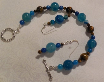 Agate blue and Tiger-eye Jewelry set