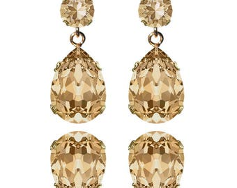 Swarovski Crystal Golden Shadow Champagne Classic Lily Earrings Gold Plated Womens Girls SS39 Chaton 18x13mm Drop