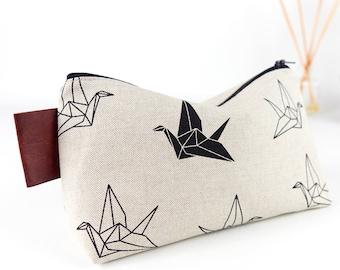 Large Wash Bag Origami Cranes Linen Toiletry Bag Linen Makeup Bag Gift for Him