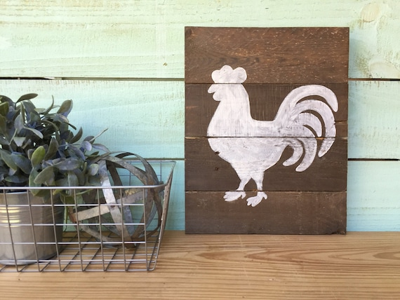 SALE! Rooster Reclaimed Wood Sign - White Rooster Wall Decor