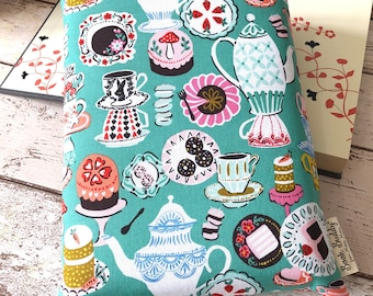 Mad Hatter's Tea Party Book Buddy, Custom Size Book Sleeve, Birthday Book Gift, Alice in Wonderland Book Bag, Padded Book Pouch