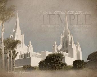 San Diego California LDS Temple Print