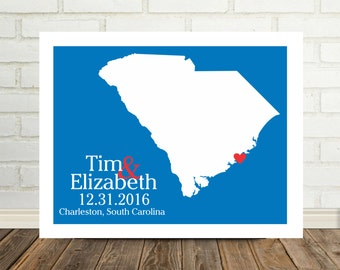 South Carolina Map Gift Personalized South Carolina Poster South Carolina Print South Carolina Wedding Gifts for Couple Gift for Newlyweds