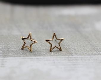 Tiny Golden Star Stud Earrings - Star Earrings - Stud Earrings - Celestial Jewelry - Gift for her