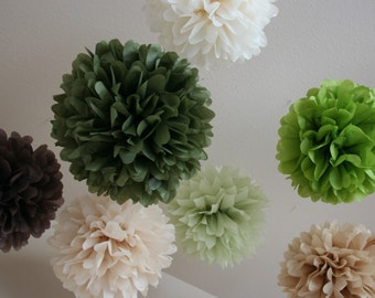 Earthy .. Wedding Decor / Ceremony / Bridal Shower Decor .. set of 7 Tissue Pom Poms