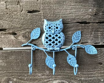 Wall Mounted Key Rack Cast Iron Owl Hook, Owl On Branch Decorative Towel Wall Fixture, Hand Painted Blue over Black, Item #567051033