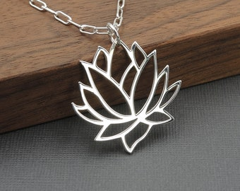 Lotus Flower Necklace Silver Lotus Necklace gift for her yoga jewelry lotus jewelry mothers day gift sterling silver necklace