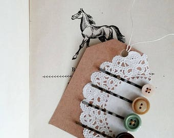 Button Hair Pin Set, Bobby Pins Made With Vintage Buttons, Earth Tones, Vintage Style Hair Accessories For Women and Teen Girls