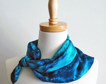 Hand Painted Silk Scarf Bandana in Ocean Blues