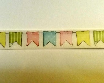 Bunting Washi Tape. Flags Washi Tape. 1.5cm by 10m. Planner Tape. Scrapbook, Journal, Masking Tape.