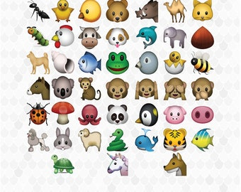 Emoji Animals Clipart, Animal Clipart, Emoji Clipart, Classic Emojis, Emotions Clip Art, Decal for Shops, PNG Files, Free Commercial Use