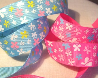 Ribbon grosgrain printed * 25 mm * flight of BUTTERFLIES - sold by the yard
