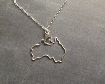 Australia Necklace in Silver or Gold - Custom Country Necklace - Australia Outline Necklace - Travel Necklace - Australia Map Necklace