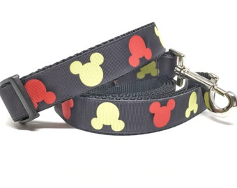 """Mickey Dog Leash & Collar Set - 1"""" wide - Personalized Dog Collar - Engraved Dog Buckle Option"""