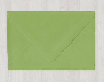 10 A8 Envelopes - Euro Flap - Green - DIY Invitations - Envelopes for Weddings and Other Events