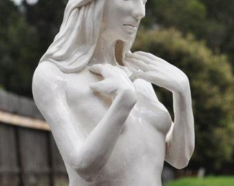"Original Figurative Porcelain Sculpture - ""Thoughts"""