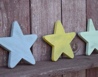 Stars Decor Shabby Chic Nursery Cottage Home Decor   Small Wooden Stars