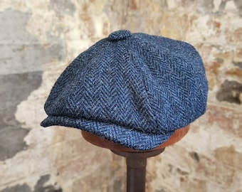 Tweels Country Collection * BROOKLYN * Harris Tweed * Newsboy Bakerboy Flat Cap Hat * 100% Wool * Navy Blue Herringbone * All Sizes * Olney