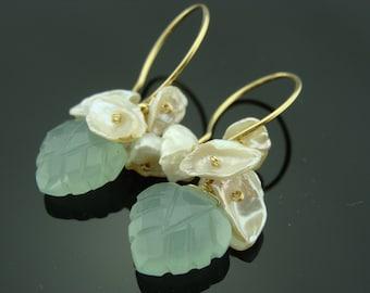 Aqua Blue Chalcedony Leaf White Keshi Pearl 14 K Gold Filled Earrings