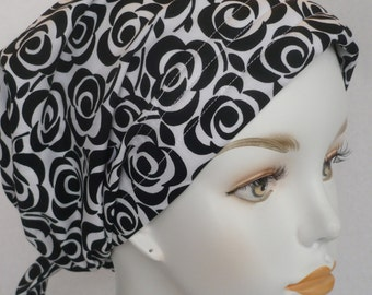 Black & White Roses Cancer Hat Chemo Scarves Head Wrap Hair Loss Turban Headcovering Bad Hair Day Hat