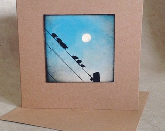 Moon note card, birds on wire with moon gift card, natural square photo card, moon print, moon in daytime sky, ready to fly, graduation card