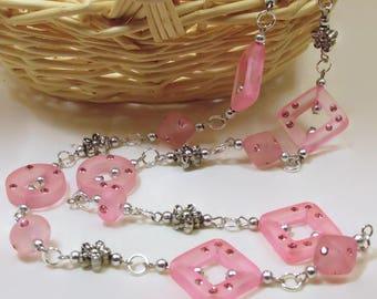 Pink Resin w/Swarovski Rhinestone Necklace - N202