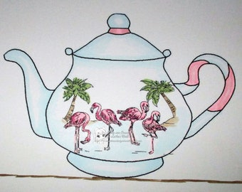 Flamingo teapot - Digital Stamp