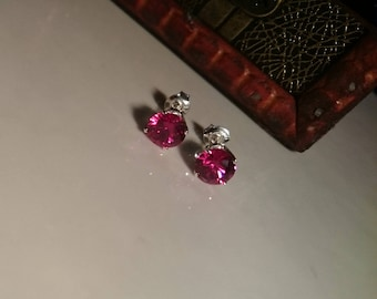 Gorgeous Natural New Red Rubies and Solid Sterling Silver Stud Earrings