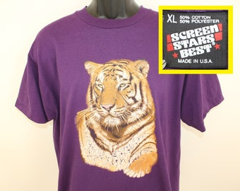 Tiger graphic vintage t-shirt XL purple 80s 90s Screen Stars Best cotton polyester jungle