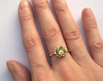 Georgian Halo Ring - Green Foiled Paste and Gold - c1830 - Stickpin Conversion