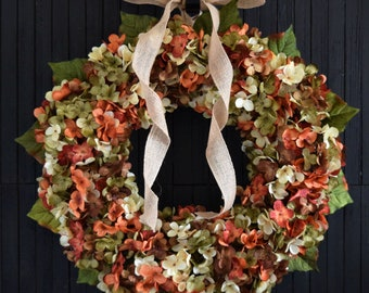 Autumn Blended Hydrangea Front Door Wreath - Orange Green Cream and Brown