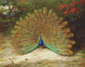 Peacock Cross Stitch Kit, Peacock and Peacock Butterfly, Counted Cross Stitch, Embroidery Kit, Art Cross Stitch, Archibald Thorburn