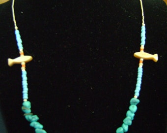 Turquoise and Silver Necklace with Fish Beads