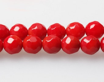 Faceted Red Coral Beads, Dyed Red Coral Gemstone 4 6 7.5mm Beads for DIY Necklace Bracelet Making Supplies