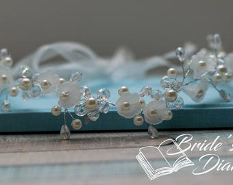 Bridal Wreath, wedding hair accessories, silver hair vine with white flowers