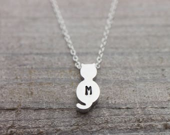 Custom hand stamped initial cat silver necklace