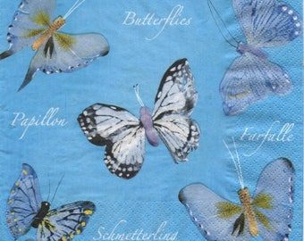 3244 - Set of 5 blue gray Butterfly paper napkins