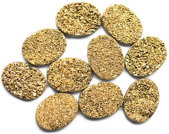 Golden Druzy, Druzy Cabochon, 16x12mm Oval Shaped Druzy, Cabochon, Druzy Stone, Jewelry Making Supplies  (GZ-80016)